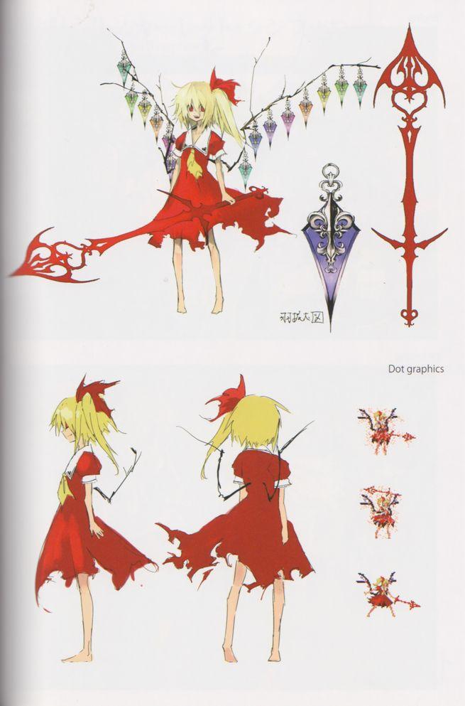 Tags: Anime, Banpai Akira, Frontier Aja, Scarlet - The Legendary Castle, Koumajou Densetsu, Touhou, Flandre Scarlet, Laevatein, Official Art, Fancy Winged Flandre, Pixiv, Mobile Wallpaper