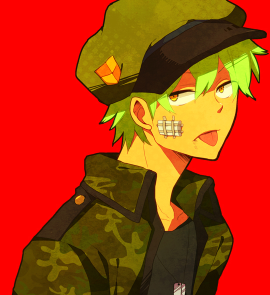 Tags: Anime, Pixiv Id 1833229, Happy Tree Friends, Flippy, Camouflage Print, Bandaged Cheek, Fanart From Pixiv, Pixiv, Fanart, Requested Upload