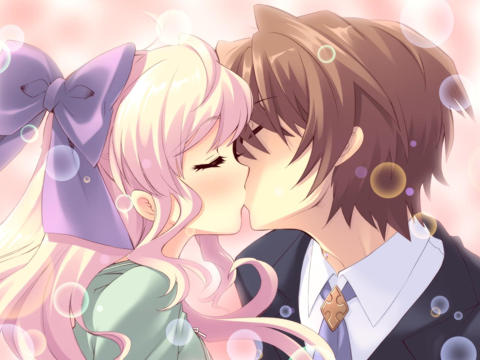 Днем, открытки поцелуи аниме