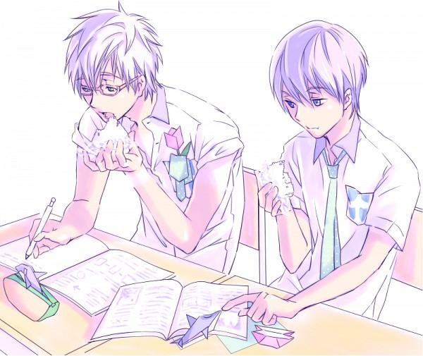 Tags: Anime, Pixiv Id 7929580, Free!, Nanase Haruka (Free!), Tachibana Makoto, Desk, Origami