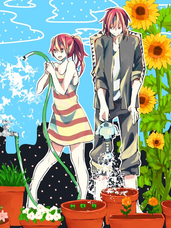 Tags: Anime, Pixiv Id 3111577, Free!, Matsuoka Rin, Matsuoka Gou, Watering Can, Pixiv