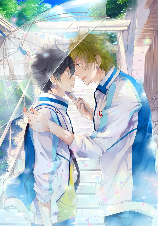 Tags: Anime, hash, Free!, Nanase Haruka (Free!), Tachibana Makoto, Transparent Object, See Through Umbrella, Pixiv, Fanart, Mobile Wallpaper, Fanart From Pixiv, MakoHaru
