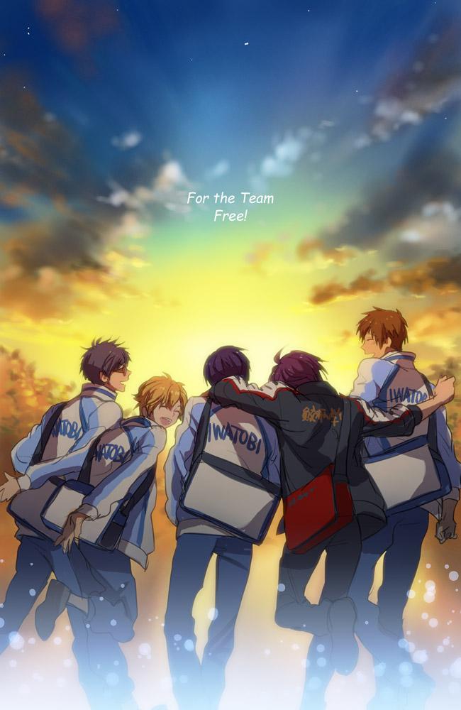 Tags: Anime, P-nekor, Free!, Tachibana Makoto, Matsuoka Rin, Ryuugazaki Rei, Hazuki Nagisa, Nanase Haruka (Free!), Pixiv, Mobile Wallpaper