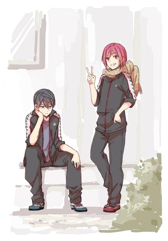 Tags: Anime, Pixiv Id 4752672, Free!, Nanase Haruka (Free!), Matsuoka Rin, Mobile Wallpaper, Pixiv
