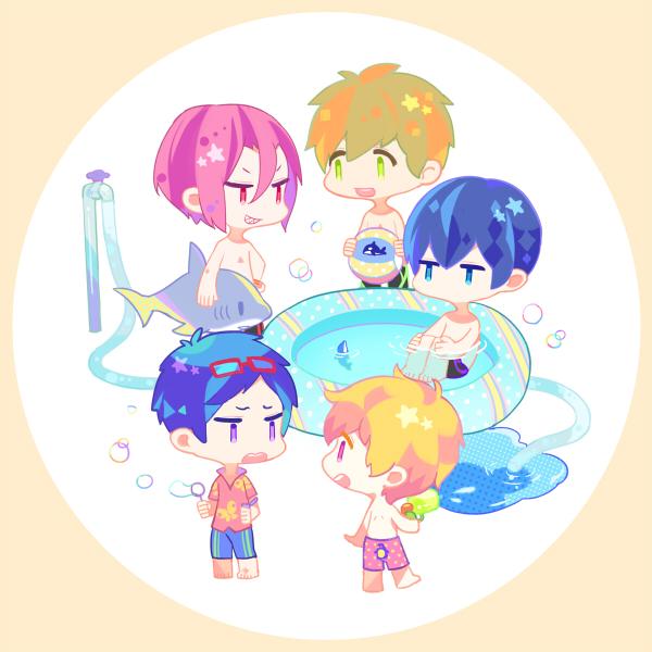 Tags: Anime, Kusuri (Pixiv179816), Free!, Tachibana Makoto, Matsuoka Rin, Ryuugazaki Rei, Hazuki Nagisa, Nanase Haruka (Free!), Pixiv, Fanart, Fanart From Pixiv