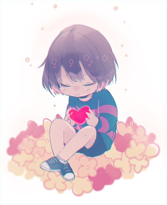 Tags: Anime, Shiuka (Shiupiku), Undertale, Frisk, Striped Sweater, Striped Outerwear, Tumblr, PNG Conversion, Fanart