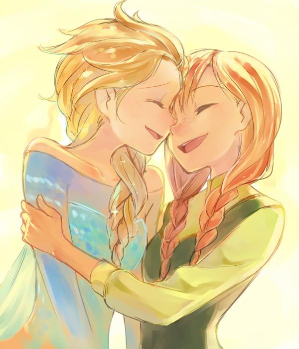 Tags: Anime, sou (Pixiv2760884), Frozen (Disney), Elsa the Snow Queen, Princess Anna of Arendelle, 600x700 Wallpaper, Disney