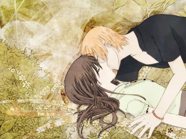 Tags: Anime, Fruits Basket, Sohma Kyo, Honda Tohru, Kiss On The Lips, 1600x1200 Wallpaper