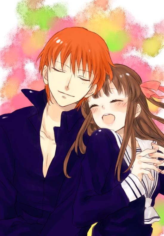 Tags: Anime, Pixiv Id 3963172, Fruits Basket, Sohma Kyo, Honda Tohru, Mobile Wallpaper, Fanart
