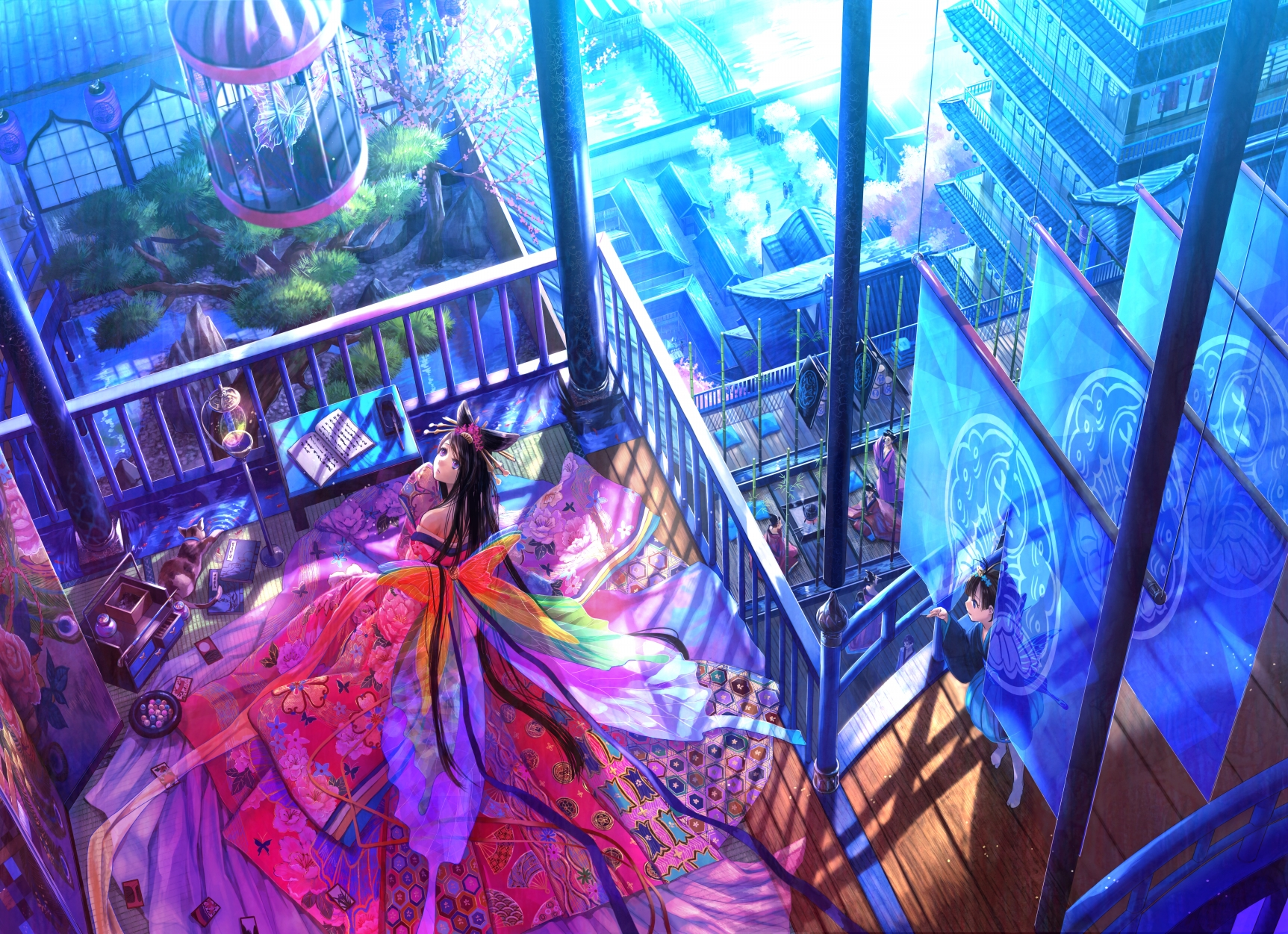 Девушка на балконе японское аниме  № 3866813 загрузить