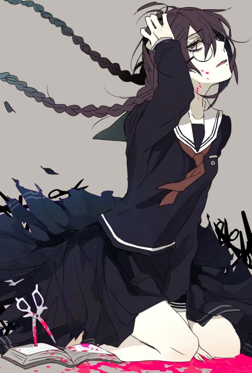 Tags: Anime, Shijima Tohiro, Danganronpa, Fukawa Touko, Unusual Colored Blood, Mobile Wallpaper, Pixiv, Fanart, Fanart From Pixiv