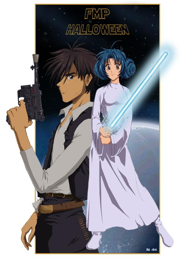 Tags: Anime, Star Wars, Full Metal Panic!, Sagara Sousuke, Chidori Kaname, Star Wars (Parody), Han Solo (Cosplay), Princess Leia Organa Solo (Cosplay), Mobile Wallpaper