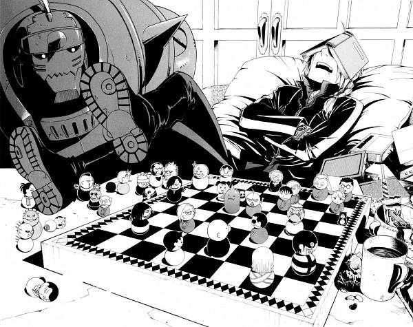 Tags: Anime, Arakawa Hiromu, Fullmetal Alchemist, Alphonse Elric, Edward Elric, Board Game, Chess