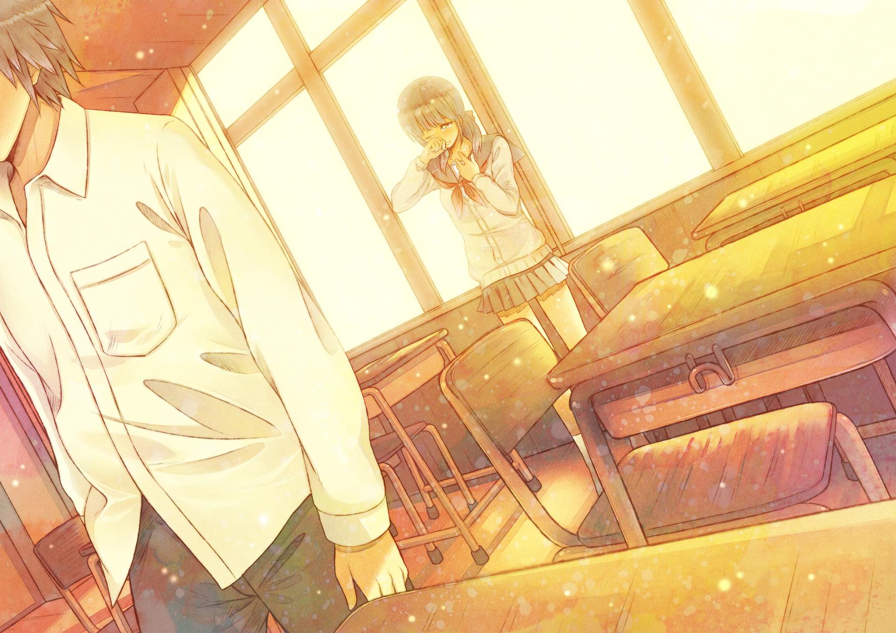 Картинки аниме парень и девушка в школе