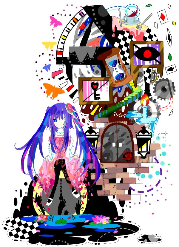 Tags: Anime, Oca, Yuyu (Spika), 07th Expansion, Umineko no Naku Koro ni, Furudo Erika, Detailed, Lily Pads, Hourglass, Surreal, Hand Print, Fanart, Mobile Wallpaper