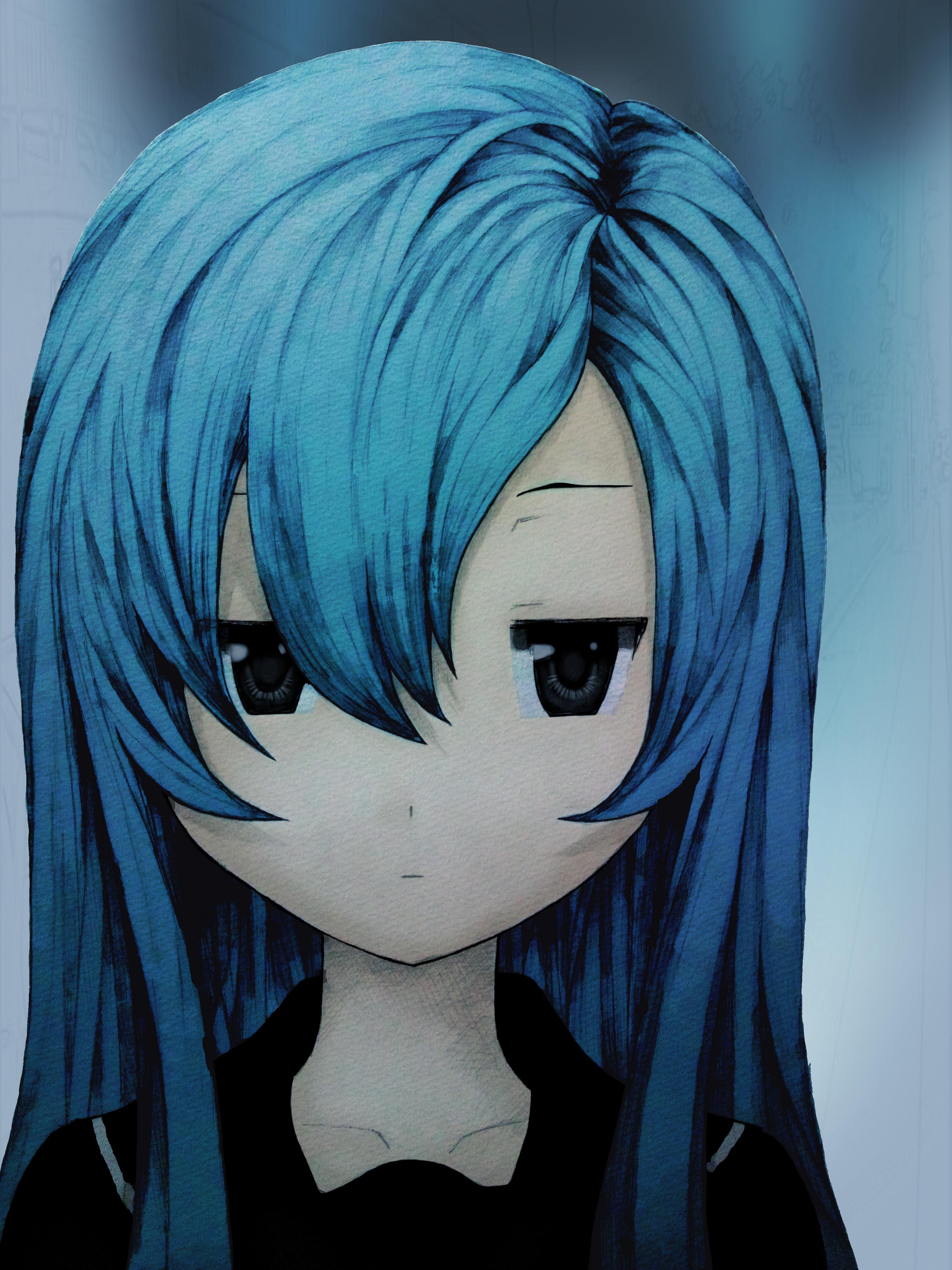girls with dark blue hair tumblr