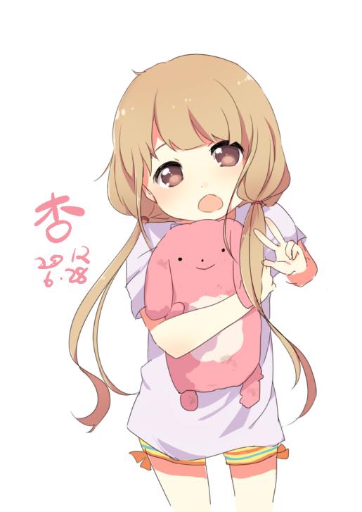 Tags: Anime, Pixiv Id 1689374, THE iDOLM@STER: Cinderella Girls, Futaba Anzu, Hugging Toy, Fanart, Fanart From Pixiv, Mobile Wallpaper, Pixiv