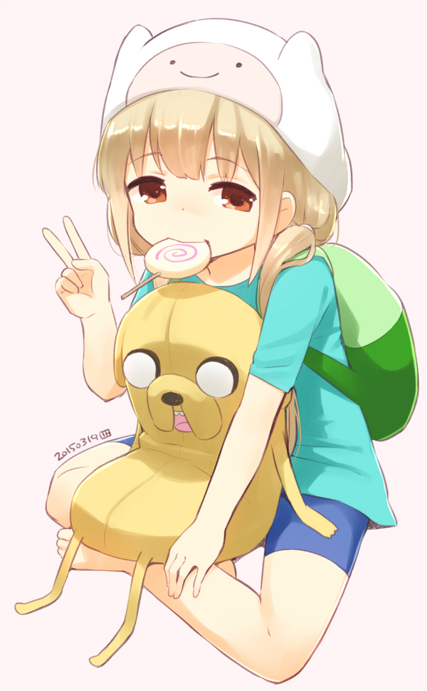Tags: Anime, Nagian, THE iDOLM@STER: Cinderella Girls, Futaba Anzu, Stuffed Dog, Finn The Human (Cosplay), Adventure Time (Parody), Fanart, Mobile Wallpaper, Fanart From Pixiv, Pixiv