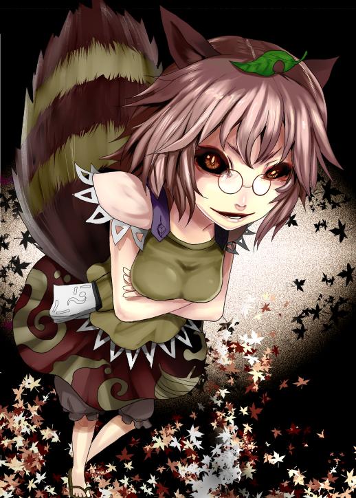 Tags: Anime, Pixiv Id 765924, Touhou, BLEACH, Futatsuiwa Mamizou, Leaf On Head, Striped Tail, Sake Bottle, Hollow, Object On Head, PNG Conversion, Fanart, Mobile Wallpaper, Mamizou Futatsuiwa