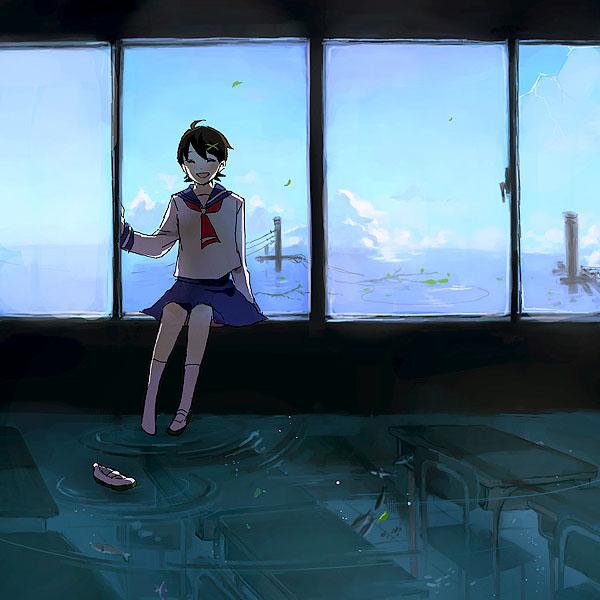 Tags: Anime, Karua (Teikiatsugirl), Sayonara Zetsubou Sensei, Fuura Kafuka, Flood, Fanart