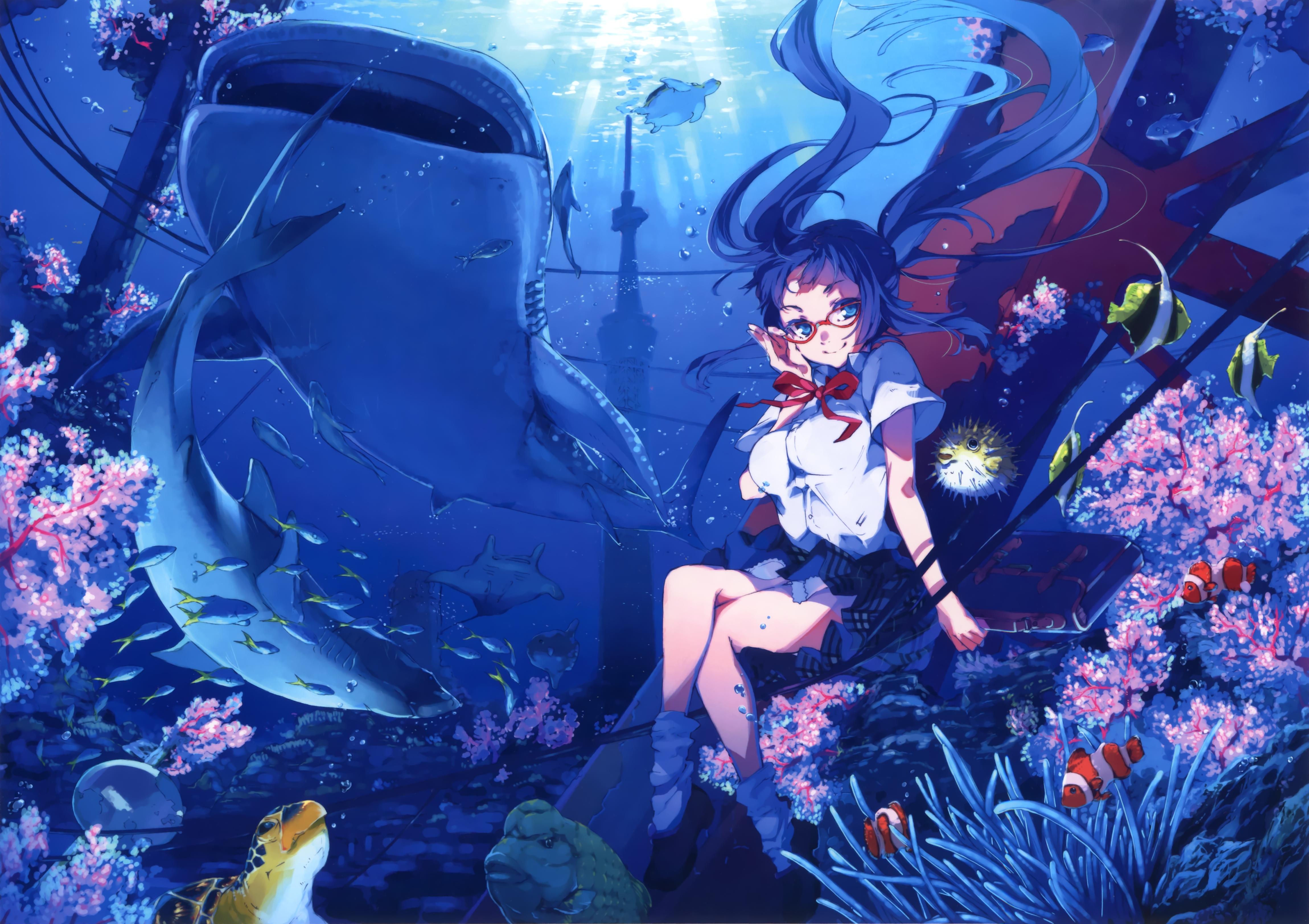Под водой картинки аниме