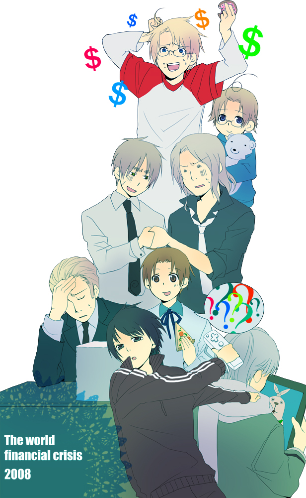 Tags: Anime, Mushi Kei, Axis Powers: Hetalia, North Italy, Canada, Russia, United Kingdom, France, United States, Japan, Germany, $, Pizza