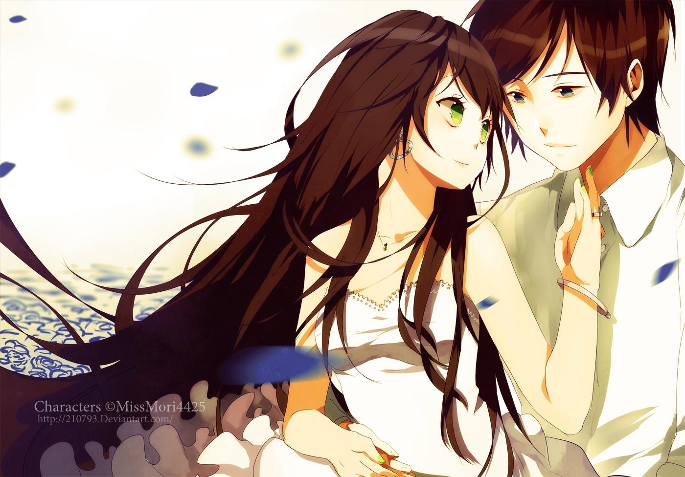 Anime couple brown hair