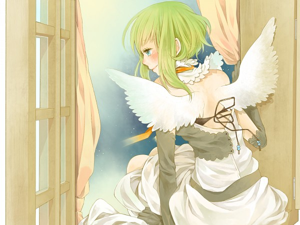 Tags: Anime, Nemutagari, Vocaloid, GUMI, Angel, Looking Away, Window