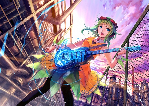 Tags: Anime, Fuji Choko, VOCALOID, GUMI, Goggles, Fence, See Through Clothes