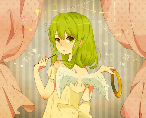 Tags: Anime, Kise, VOCALOID, GUMI, Angel, Striped Background, Waist Up