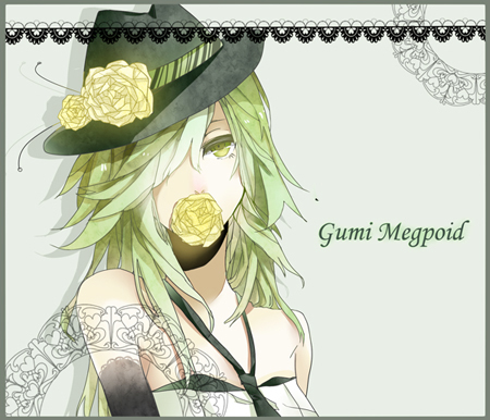Tags: Anime, Maki (Pixiv2336040), VOCALOID, GUMI, Flower In Mouth, Fanart, Pixiv