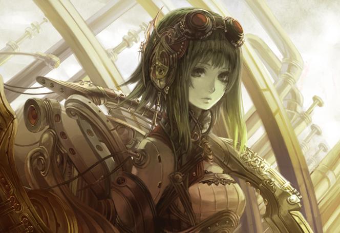 Tags: Anime, Comin, VOCALOID, GUMI, Dreary, Futuristic Theme, Dark Colors, Dim Light, Steampunk, Fanart
