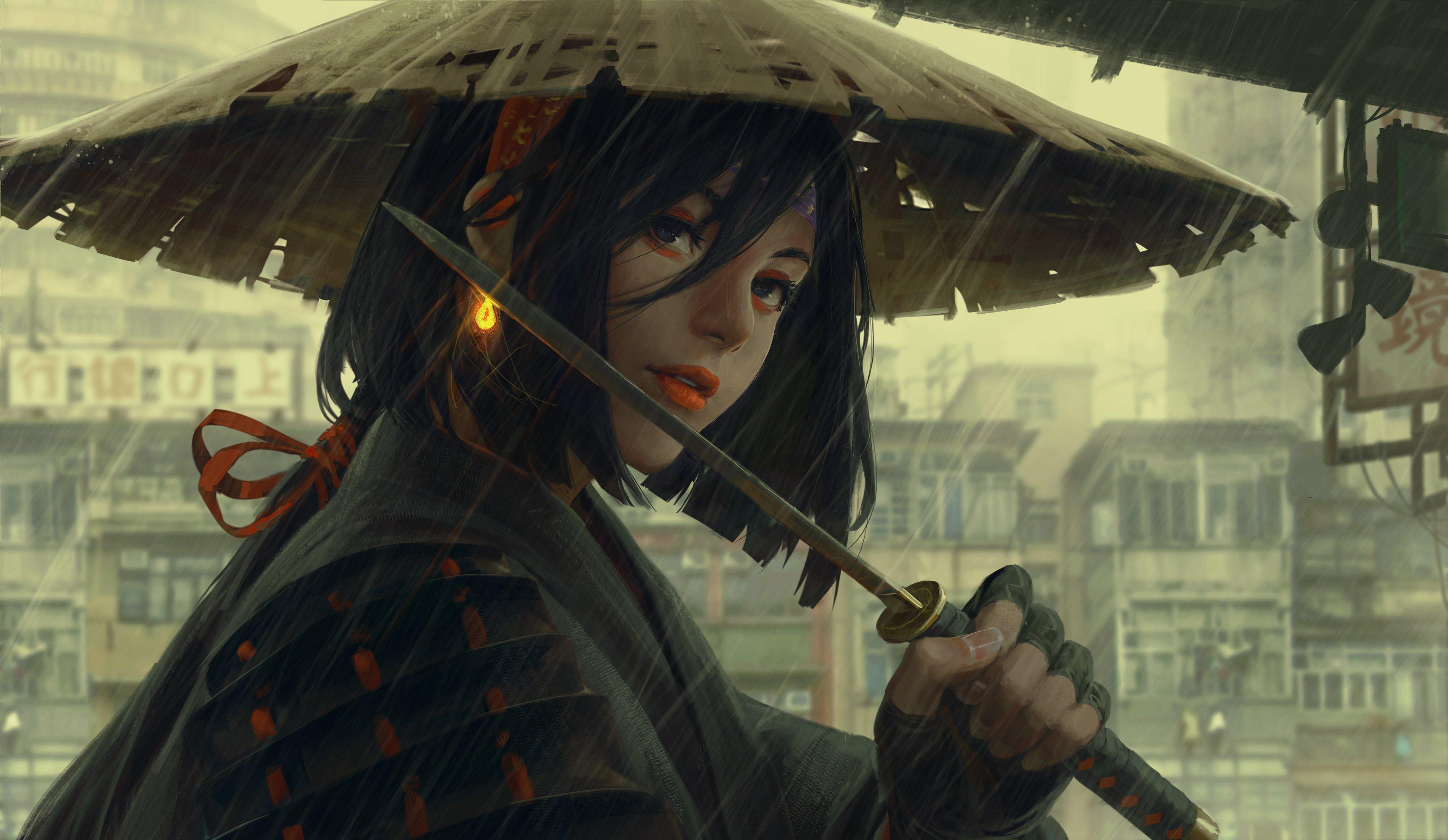 Women Warrior Artwork Sword Rain Cyberpunk Cyberpunk: Zerochan Anime Image Board