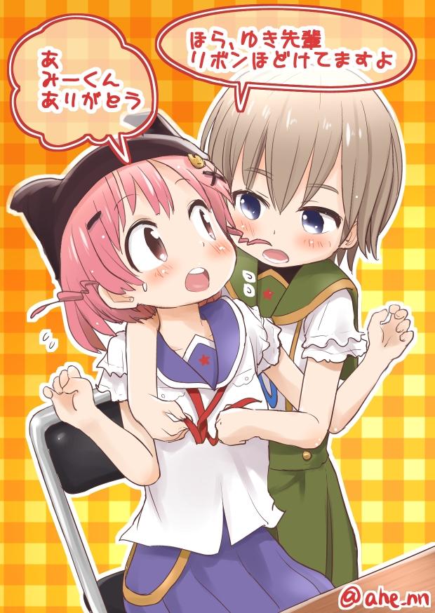 Tags: Anime, Ahenn, Gakkou Gurashi!, Naoki Miki, Takeya Yuki, Cat Hat, Plaid Background, Fanart, School-live!