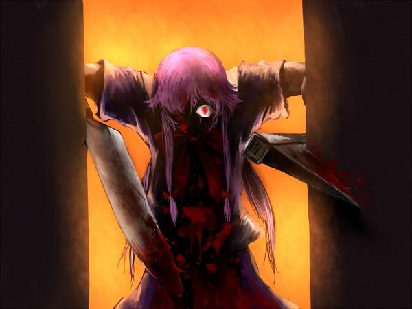 Tags: Anime, Pixiv Id 99423, Mirai Nikki, Gasai Yuno, 1024x768 Wallpaper, Red Bow, Dagger