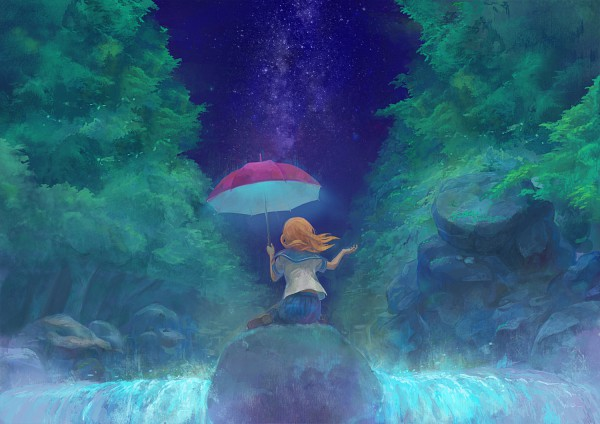 Tags: Anime, Gemi, Rocks, Sky Umbrella, Hold Out Hand, Stars (Sky), Waterfall
