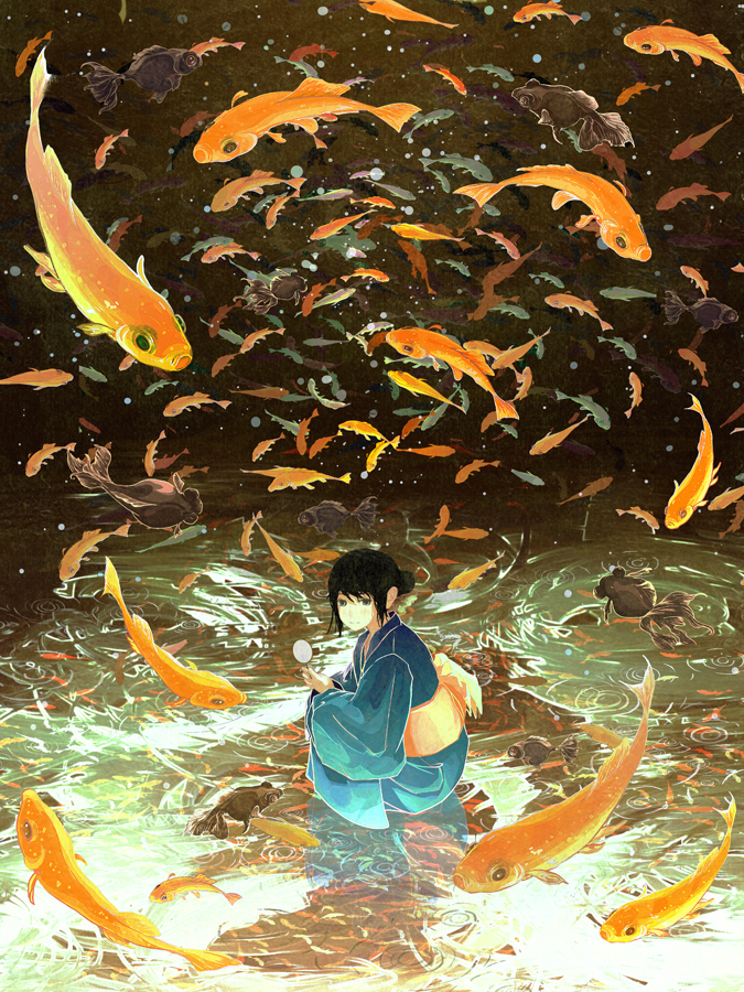 Tags: Anime, Gemi, Koi Pond, Aquatic Animal in the Sky, Net, Original, Pixiv