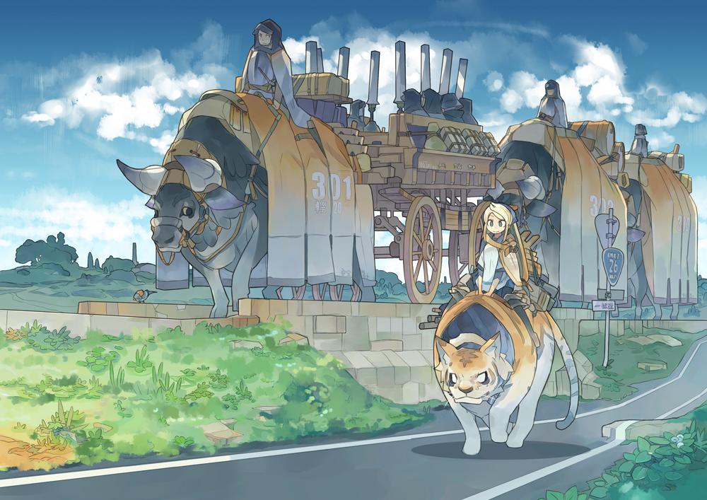 Anime Riding A Cat
