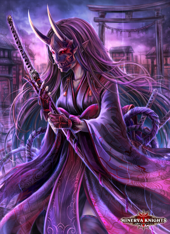 Tags: Anime, El-seluvia, GMO (Studio), Gensou no Minerva Knights, Japanese Architecture, Oni Mask, deviantART, Mobile Wallpaper, Official Art, Official Card Illustration, Character Request, Legend Of Minerva