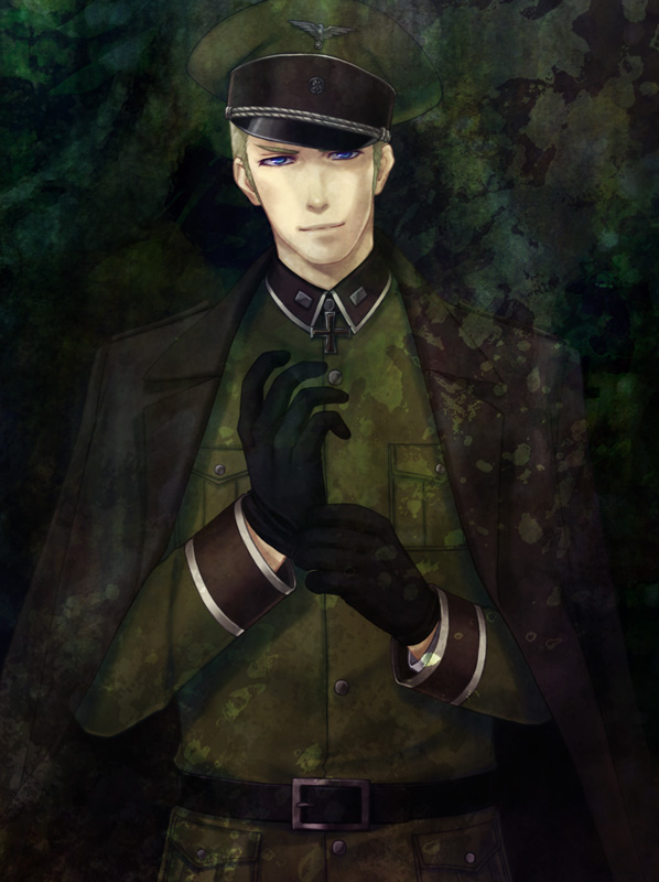 Tags: Anime, Pixiv Id 1345015, Axis Powers: Hetalia, Germany, Coat Over Shoulders, Cross, Military Hat