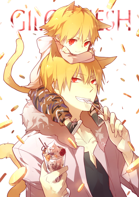 Tags: Anime, Mayer, Fate/hollow ataraxia, Ko-gil, Gilgamesh, Camouflage Print, King, Parfait, Laced Up, Money, Coin, Gold (Metal), Pixiv