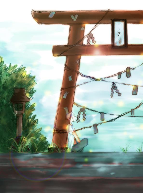 Tags: Anime, Michiko (Pixiv67767), Hotarubi no Mori e, Gin (Hotarubi no Mori e), Shrine, Pixiv