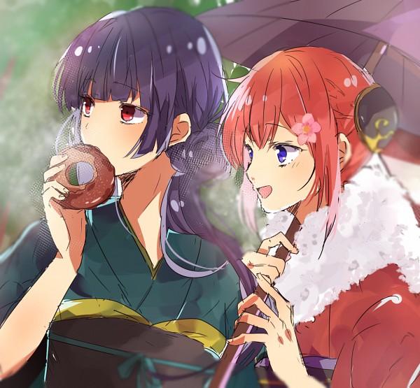 Tags: Anime, Pixiv Id 11090805, Gin Tama, Imai Nobume, Kagura (Gin Tama), Bun Cover, Donut