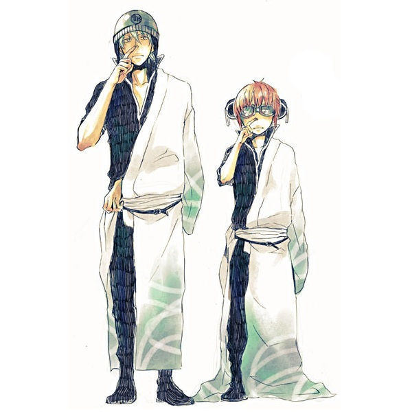 Tags: Anime, Gin Tama, Kagura (Gin Tama), Sakata Gintoki, Oversized Clothes, Goggles, Picking Nose