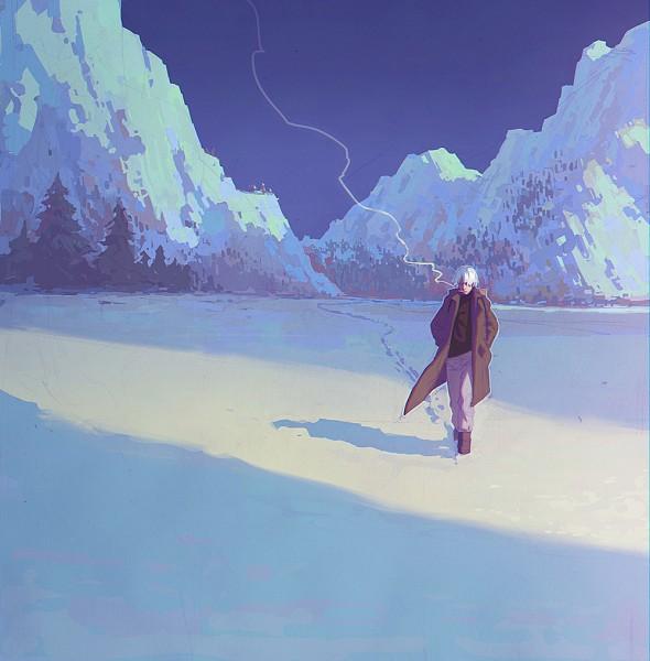 Tags: Anime, KR0NPR1NZ, Mushishi, Ginko (Mushishi), Mountains, Open Jacket, Winter
