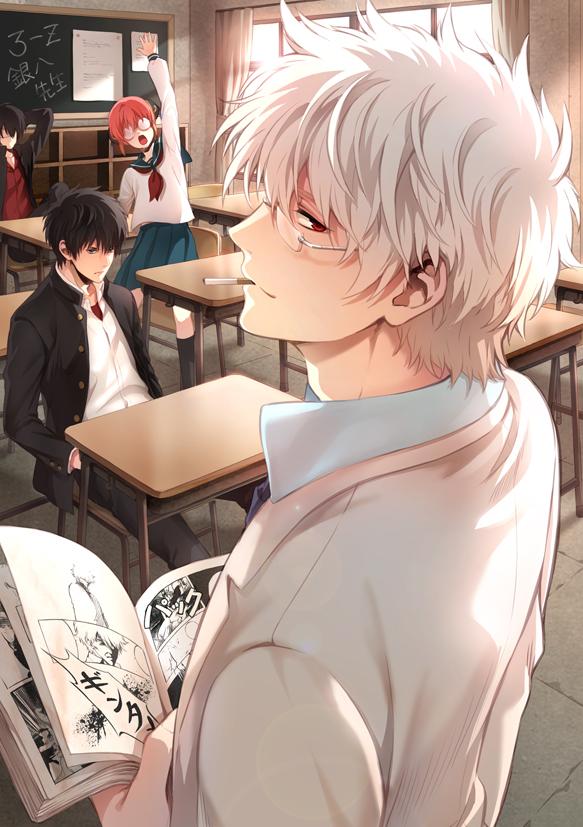 Tags: Anime, Pixiv Id 2074024, Gintama, Ginpachi-sensei, Sakata Gintoki, Kagura (Gin Tama), Hijikata Toushirou, Takasugi Shinsuke, Manga (Object), Mobile Wallpaper, Pixiv, 3z, Fanart, Silver Soul