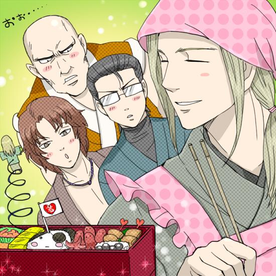 Tags: Anime, mm, Gintama, Kitaooji Itsuki, Tojo Ayumu, Minamito Sui, Nishino Tsukamu, Octopus Sausage, Pixiv, Fanart From Pixiv, Fanart, Silver Soul