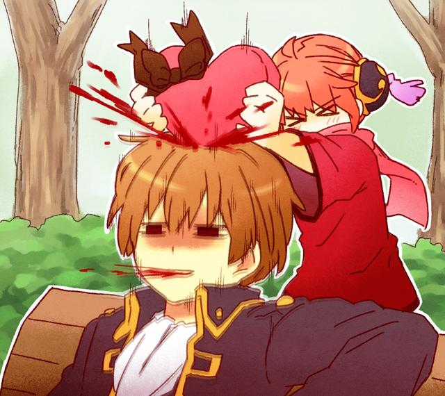 Tags: Anime, Pixiv Id 1809973, Gintama, Kagura (Gin Tama), Okita Sougo, Chocolate Box, Heart Box, Fanart, Fanart From Pixiv, Pixiv, OkiKagu, Silver Soul