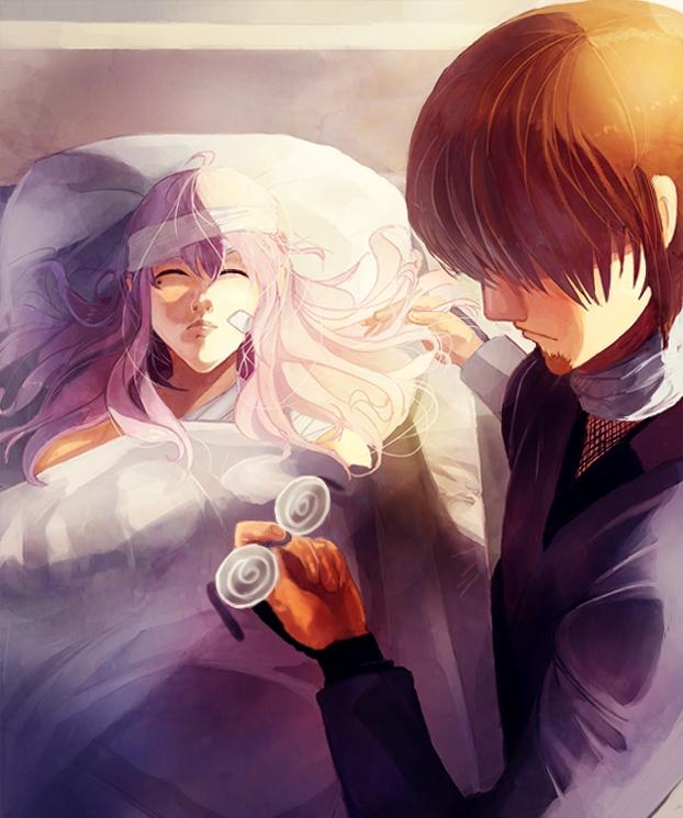 Tags: Anime, Pixiv Id 3663354, Gintama, Hattori Zenzou, Sarutobi Ayame, Swirly Glasses, Hospital, Glasses In Hand, Megane Arc, Pixiv, ZenSachi, Silver Soul