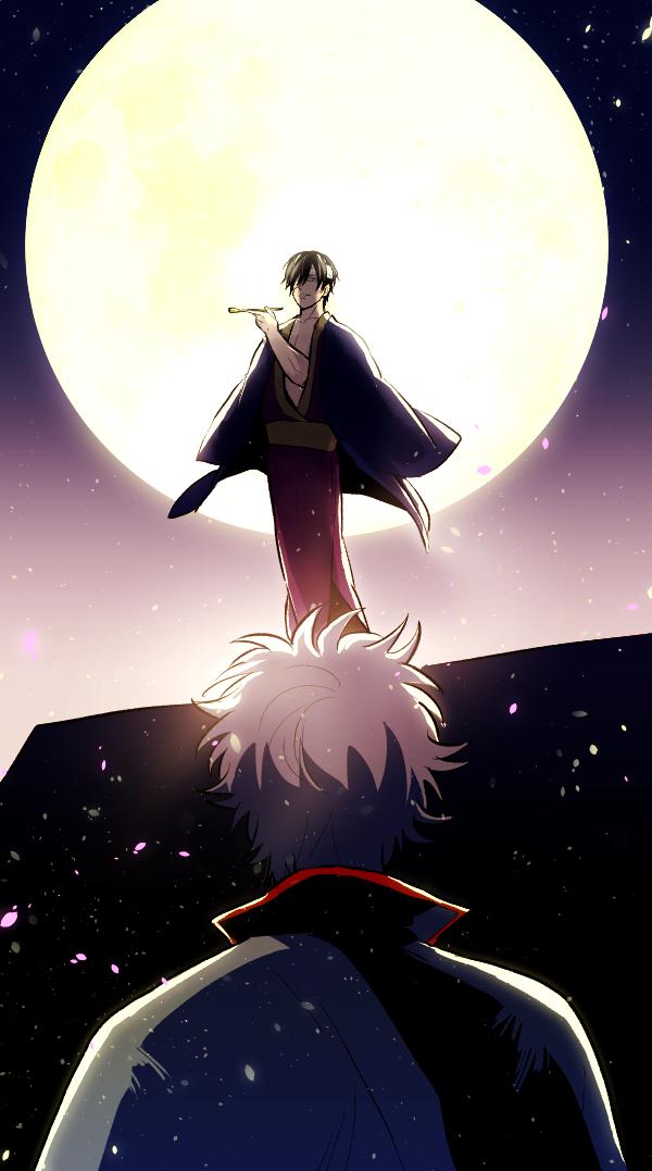 Tags: Anime, Sakurana, Gintama, Takasugi Shinsuke, Sakata Gintoki, Moonbeam, Fanart From Pixiv, Fanart, Mobile Wallpaper, Pixiv, Silver Soul